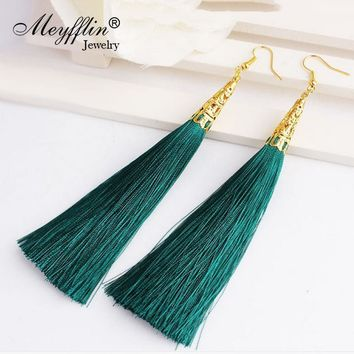 Long Tassel Earrings for Women Drop Fiber Dangle Brincos Boucle d'oreille Brush Earrings Fashion Jewelry Pendientes Bijoux