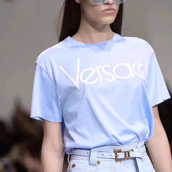 Versace Trending Leisure Women Men Tee Shirt Smiple Style B-A-QDSK-Buy Micro Light blue