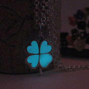 Glow in the Dark Clover Charm Necklace, Silver Finish, Turquoise Aqua Glow Unique Gift,Good Luck 4 leaf Clover, Valentines Day