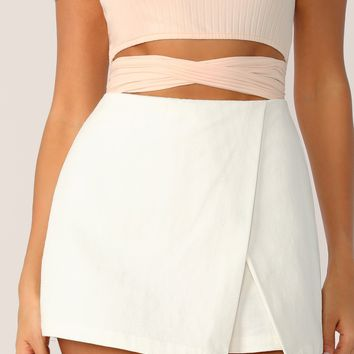 Zipper Back Solid Wrap Skort