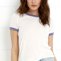 Obey Sold Out Blue-Violet and Cream Tee