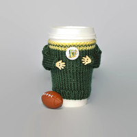 Oregon Ducks coffee cozy. College football University of Oregon. Knit cup sleeve. Travel mug cozy. Mug sweater. Starbucks cup holder.