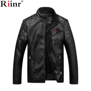 Fashion New Arrival Men's Leather Jacket Motorcycle Casual Coats Men High Quality Outwear Male Leather Jacket
