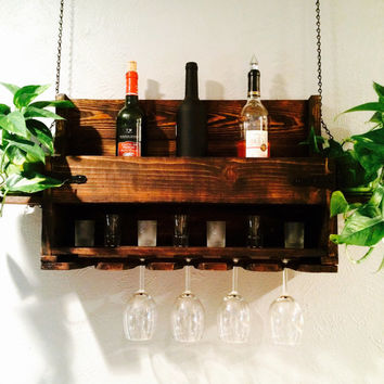 Wine Rack Holder and Liquor Shelf with glass holder