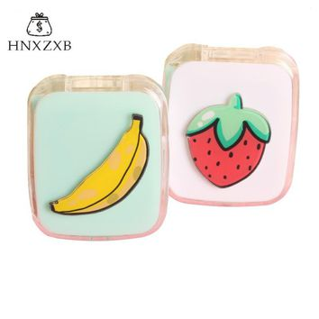HNXZXB  Mixed Fruits Women Contact Lenses Storage Box  Contact lens Case Box Eyes Care Kit Holder Travel Washer Cleaner Contai