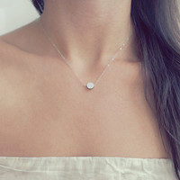 Tiny Silver Dot Necklace