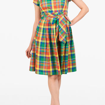 Cotton check belted dress
