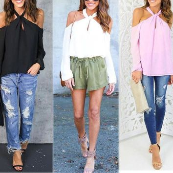 Fashion Women's Loose Off Shoulder Tops Long Sleeve Casual Blouse Summer T Shirt