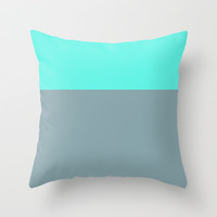 Teal and Gray Throw Pillow Cover, 18x18 pillow cover, indoor or outdoor pillow cover, colorblock pillow cover