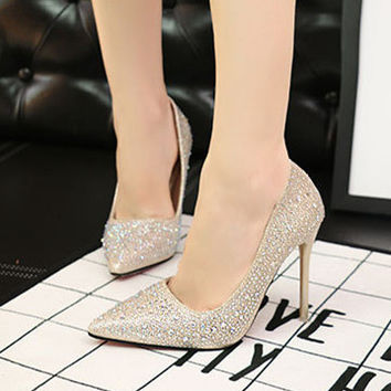 Women Fashion Irregular Rhinestones Shallow Mouth Pointed Top Heels Shoes