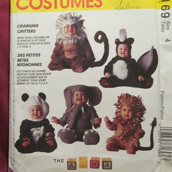 SALE Uncut McCall's Sewing Pattern, 7169! Size 4 Toddlers Halloween Costumes/Skunk/Lion/Monkey/Ape/Elephant/Panda/Kids/Children