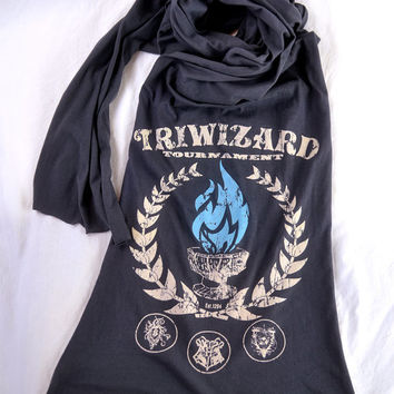 Harry Potter Long Scarf TRIWIZARD TOURNAMENT - American Apparel Dark Grey - Goblet of Fire Spits Out Harry Potter's Name