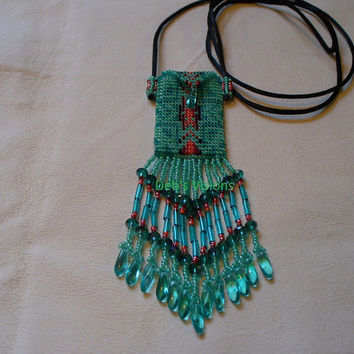 Native American Style Pendleton style beaded amulet bag in greens