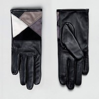 ASOS Leather & Suede mix Touch Screen Gloves In Mono at asos.com