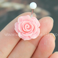 Flower Belly Button Ring ,Pink Flower Belly Ring ,Flower Bellybutton Ring, No Dangle Belly Ring , Belly Button Ring,Belly Button Piercing