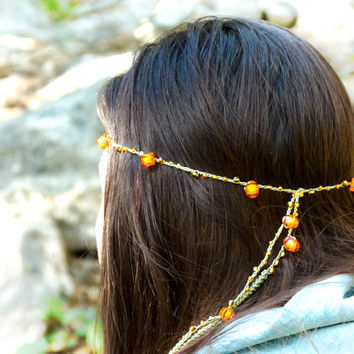Hippie style tangerine orange brown green crochet by Mashacrochet