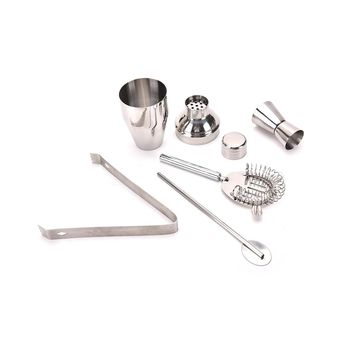 1  Set of stainless steel cocktail shaker with strainer lid and cap with Hawthorn Strainer Ice Tongs Mixing Spoon Measure Cup