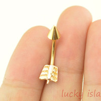 bellybutton ring,arrow belly button rings,gold arrow navel ring,nautical belly ring,body piercing bellyring girlfriend gift
