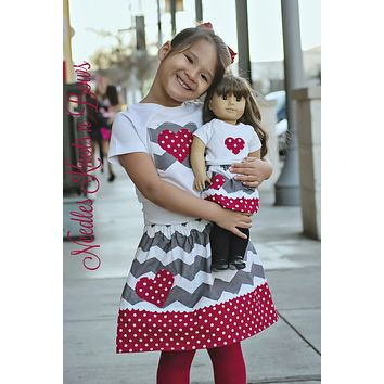 Doll & Girl Matching Valentines Outfit, Girls Valentines Day Outfit, Girls Valentines Skirt