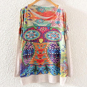 Women's Batwing Tribal Owl Printted Knitted Sweater