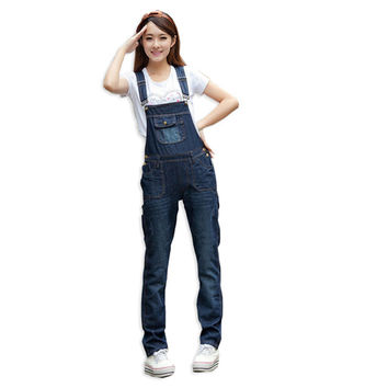Spring Summer Full Length Denim Overalls For Women Jumpers And Rompers Jeans Womens Wild Straps Jumpsuits Plus Size DZ-1799