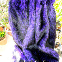 5' x 6' Exotic Purple Black Mix Faux Fur Plush Throws Blankets throw Comforter for Sofa Bedroom elegant home custom made USA