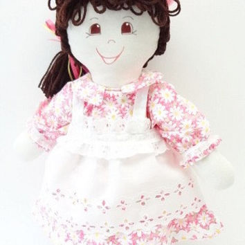 fabric toy children toddler, cloth rag doll, hand made rag dolls, rag doll handmade, ragdoll, pink daisys ooak NF178
