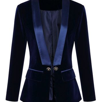 I Got Clout Navy Blue Velvet Satin Long Sleeve V Neck Button Blazer Jacket Outerwear