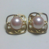 Marvella Vintage Faux Pearl Cab Gold Tone Clip On Earrings