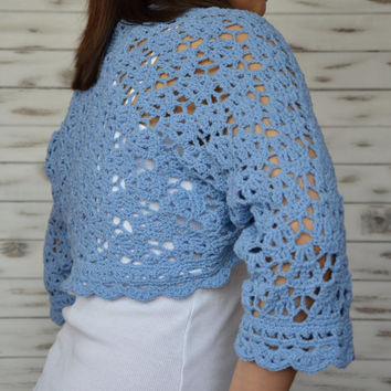 shoulder warmer, summer crochet wrap, summer shoulder wrap, blue lace bolero, summer cover up, spring summer jacket