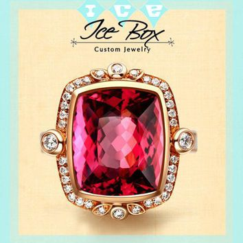 Tourmaline Engagement Ring 4.3ct, 9x11mm Cushion Cut Tourmaline set in a 14k Rose gold Diamond Halo Setting