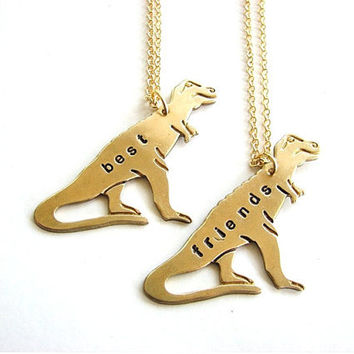 best friends TREX necklace set  tyrranosaurus by friendlygesture