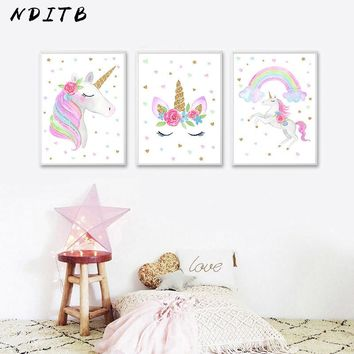 NDITB Cute Children Poster Rainbow Unicorn Canvas Wall Art Print Painting Decoration Picture Nordic Kids Bedroom Decor Gift