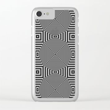 Flickering geometric optical illusion Clear iPhone Case by Natalia Bykova