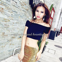 New Womens Sexy Off Shoulder Navel-baring Croptop Party Prom Short Tops T-shirt