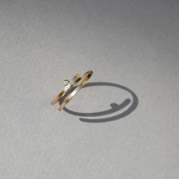 Kimora gold coil ring, tiny diamond engagement ring, alternative engagement ring gold, dainty diamond ring, delicate diamond engagement ring