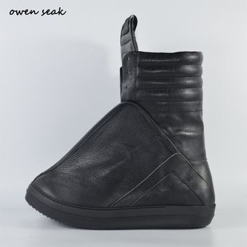 Owen Seak Men Shoes High-TOP Ankle Luxury Trainers Sneaker Genuine Leather Men Boots Casual Brand Zip Flats Black White Big Size