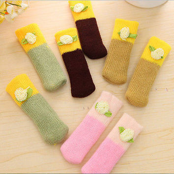 1 set/4pcs  Knit Wool Chair Table Leg Floor Protector Anti Scratch Cover Sock