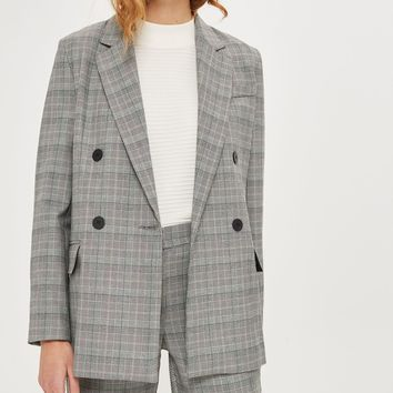 Checked Double Breasted Blazer | Topshop