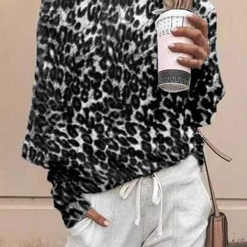 New Black Leopard Print One-shoulder Long Sleeve Casual T-Shirt