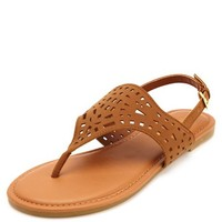 LASER CUT-OUT THONG SANDALS