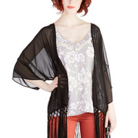 ModCloth Boho Long 3 Savannah Stroll Jacket in Ink