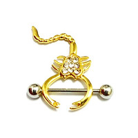 Scorpion Nipple Rings, Kredy® 2016 Newest 2 pcs / 1 pair 316L Surgical Steel 14g 14 Gauge Nipple Ring Bar Body Piercing Jewelry with 8 Rhinestone - Yellow Gold, Try It Now!