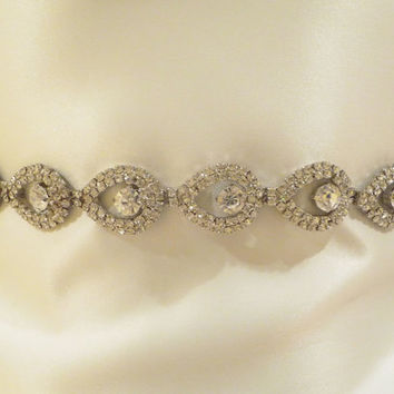 Bridal Rhinestone Sash  BELLISA Teardrop by BellaCescaBoutique