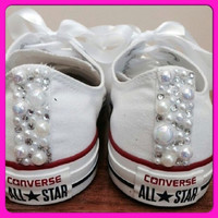Pearl Converse and Wedding Converse / Vans / Nike / Pumps Silver Swarovski Diamonte / Diamante Hand Made To Order US 5 - 10 UK 3- 8 AU 5 - 1