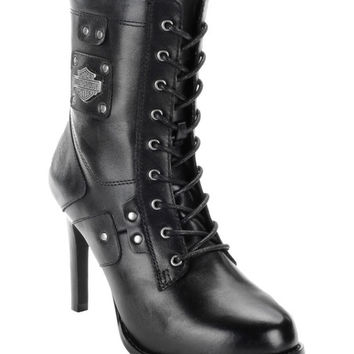 Harley-Davidson Footwear Black Vikki Leather Motorcycle Boot - Women | zulily