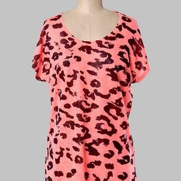 Neon Coral leopard print Top