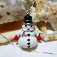Sterling Silver Enamel Frosty Snowman with Diamonds Pendant Necklace 18 inch Box Chain 6.43g