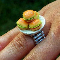 Hamburger Statement Ring. Diner Food Fashion Ring. Stretch Band.