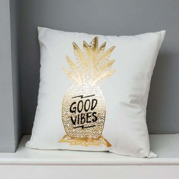 Metallic Pineapple Cushion Cover